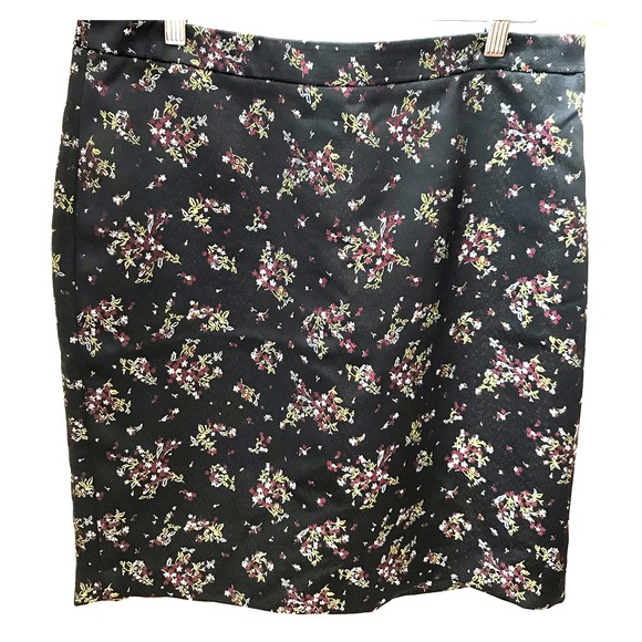 LOFT Dresses & Skirts - Loft - Black satin and «embroidery» skirt